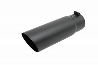 Gibson Performance Exhaust - Black Ceramic Single Wall Angle Exhaust Tip, #500638-B