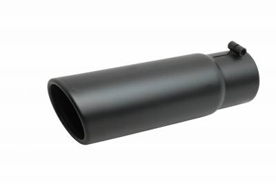 Gibson Performance Exhaust - Black Ceramic Rolled Edge Angle Exhaust, Tip, #500647-B