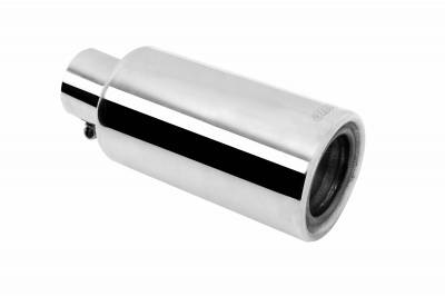 Gibson Performance Exhaust - Stainless Rolled Edge Angle Muffler Quiet Tip, Clamp On, #500659