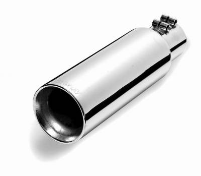 """Gibson Performance Exhaust - 5"""" Polished Stainless Round Angle Cut  Double Wall Tip, #500428"""