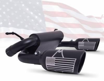 Gibson Performance Exhaust - 18-20 Jeep Wrangler 3.6L, 07-11 Jeep Wrangler 3.8L Patriot Series Dual Split Exhaust Black Ceramic, #70-0001