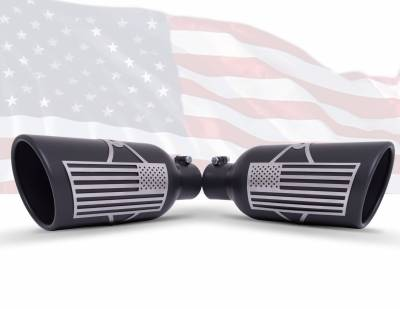 Gibson Performance Exhaust - Patriot Flag Rolled Edge Angle Exhaust, Tip, Black Ceramic, Inlet 4 in.; Outlet 5 in.; L-12 in., #71-1017