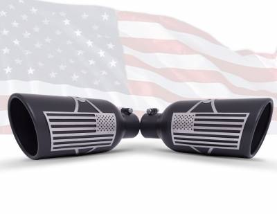 Gibson Performance Exhaust - Patriot Flag Rolled Edge Angle Exhaust, Tip, Black Ceramic, Inlet 3.50 in.; Outlet 6 in.; L-18 in.,#71-1016
