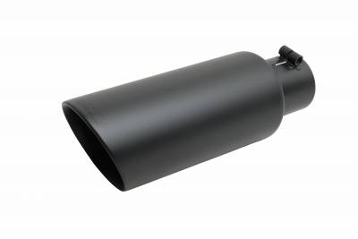 Gibson Performance Exhaust - Black Ceramic Rolled Edge Angle Exhaust, Tip, #500648-B