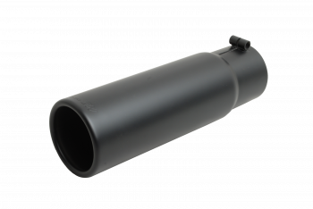 Exhaust Tip - Black Ceramic Tip - Rolled Edge Angle Tip